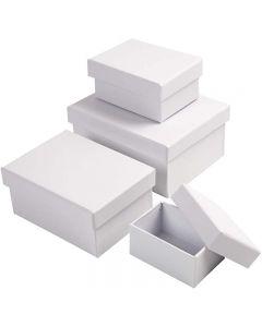 Pahvirasialajitelma, Kork. 3,5+4,5+5,5+6,5 cm, koko 8,5x11,5+11x14 cm, valkoinen, 4 kpl/ 1 set
