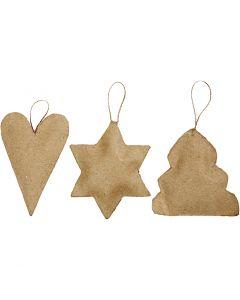 Joulukoristeet, sydän, tähti, kuusi, koko 8-9 cm, 9 kpl/ 1 pkk