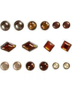 Koristeniitit, koko 8-18 mm, ruskea, 16 kpl/ 1 pkk