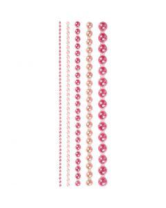 Helmenpuolikkaat, koko 2-8 mm, pinkki, 140 kpl/ 1 pkk