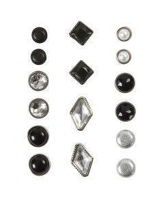 Koristeniitit, koko 8-18 mm, musta, 16 kpl/ 1 pkk