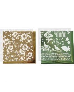 Koristefolio ja siirtoarkki, Kukat, 15x15 cm, kulta, vihreä, 2x2 ark/ 1 pkk