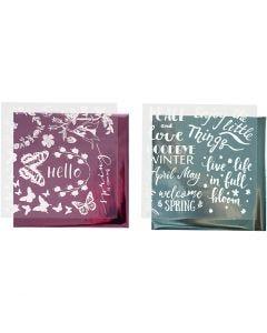 Koristefolio ja siirtoarkki, Kevät, 15x15 cm, vaaleansininen, pinkki, 2x2 ark/ 1 pkk