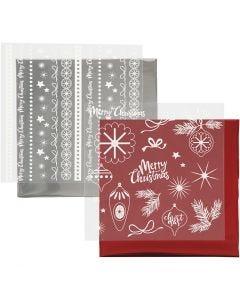 Koristefolio ja siirtoarkki, Magical Christmas, 15x15 cm, punainen, hopea, 2x2 ark/ 1 pkk