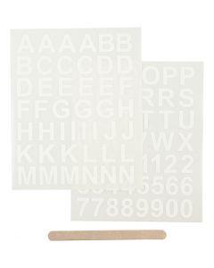 Siirtotarra, Kirjaimet ja numerot, Kork. 17 mm, 12,2x15,3 cm, valkoinen, 1 pkk