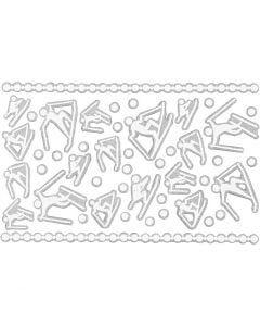Softistarrat, hiihtäjät, 9x14 cm, koko 5-30 mm, valkoinen, 1 ark