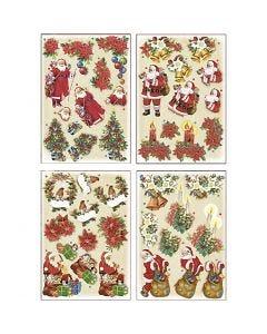 3D-kuvat, joulupukit ja joulutähdet, 21x30 cm, 4 ark/ 1 pkk