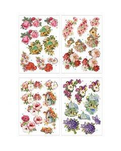 3D-kuvat, kukat ja linnut, 21x30 cm, 4 ark/ 1 pkk