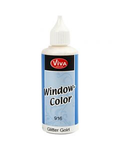 Ikkunaväri, glitter kulta, 80 ml/ 1 pll