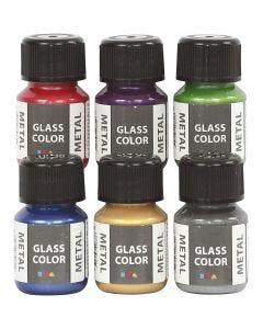 Glas Color Metal lasimaali, värilajitelma, 6x30 ml/ 1 pkk