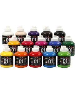 A-Color akryylimaali, kiiltävä, värilajitelma, 15x500 ml/ 1 ltk