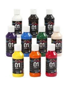 A-Color akryylimaali, kiiltävä, värilajitelma, 10x100 ml/ 1 pkk