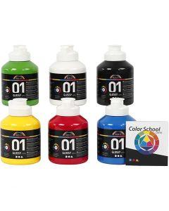 A-Color akryylimaali, nro 01, kiiltävä, perusvärilajitelma, 6x500 ml/ 1 pkk