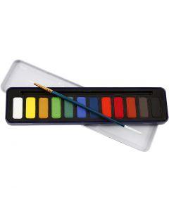 Akvarellivärit, koko 12x30 mm, 12 väri/ 1 pkk