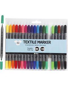 Tekstiilitussit, paksuus 2,3+3,6 mm, perusvärilajitelma, 20 kpl/ 1 pkk