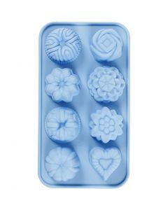 Silikonimuotti, Pienet kakut, aukon koko 40x45 mm, 25 ml, vaaleansininen, 1 kpl