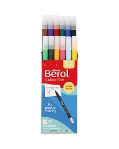 Berol Colourfine-tussit, halk. 10 mm, paksuus 0,3-0,7 mm, värilajitelma, 12 kpl/ 1 pkk