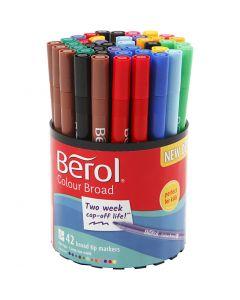 Berol Colourfine-tussit, halk. 10 mm, paksuus 0,3-0,7 mm, värilajitelma, 42 kpl/ 1 tb