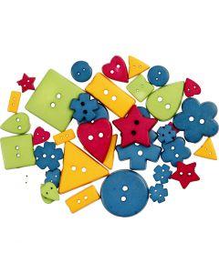 Kuvionapit, halk. 8-18 mm, aukon koko 2 mm, vahvat värit, 37 kpl/ 1 pkk