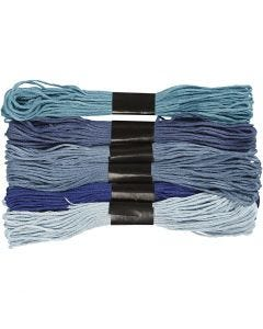 Kirjontalankalajitelma, paksuus 1 mm, siniset sävyt, 6 kerä/ 1 pkk