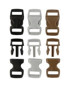 Muovilukko, Pit. 29 mm, Lev: 15 mm, aukon koko 3x11 mm, musta, ruskea, harmaa, 100 kpl/ 1 pkk