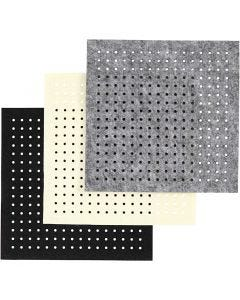 Huopa-arkki, rei'itetty, paksuus 3 mm, musta, harmaa, luonnonvalkonen, 3x4 ark/ 1 pkk