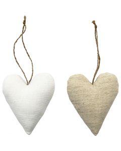Kangaskoristeet, koko 8x9,5 cm, valkoinen, vaalea natural, 6 kpl/ 1 pkk