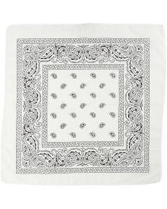 Bandana, koko 55x55 cm, valkoinen, 1 kpl