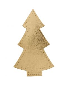 Joulukuusi, Kork. 18 cm, Lev: 11 cm, 350 g, kulta, 4 kpl/ 1 pkk