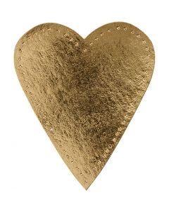 Sydän, Kork. 12 cm, Lev: 10 cm, 350 g, kulta, 4 kpl/ 1 pkk