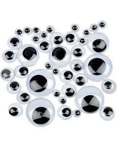 Liikkuvat silmät, liimattavat, halk. 4-20 mm, 1100 laj/ 1 pkk