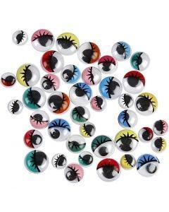 Liikkuvat silmät, liimattavat, halk. 8-12 mm, 36 laj/ 1 pkk