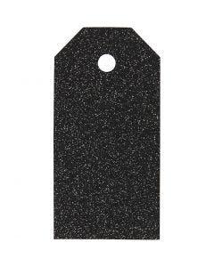 Pakettietiketit, koko 5x10 cm, kimalle, 300 g, musta, 15 kpl/ 1 pkk