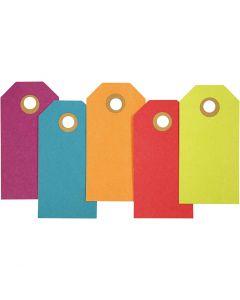 Pakettietiketit, koko 4x8 cm, 250 g, värilajitelma, 20 kpl/ 1 pkk