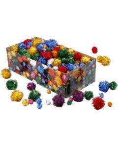 Pompomit, halk. 15-40 mm, kimalle, vahvat värit, 400 g/ 1 pkk