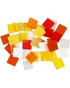 Minimosaiikit, koko 10x10 mm, oranssi/pun. sävyt, 25 g/ 1 pkk