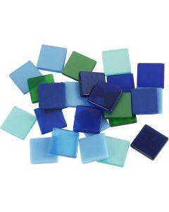 Minimosaiikit, koko 10x10 mm, vihreä/sinisävyt, 25 g/ 1 pkk