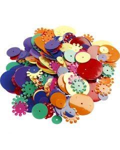 Paljetit, pyöreät, koko 10-25 mm, värilajitelma, 250 g/ 1 pkk