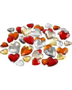 Akryylitimantit, koko 6+10+14 mm, punaiset sävyt, 252 kpl/ 1 pkk
