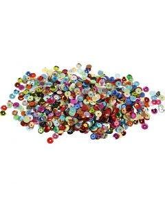 Paljetit, pyöreät, halk. 6 mm, 10 g/ 1 pkk