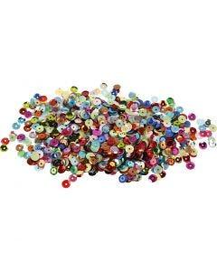 Paljetit, pyöreät, halk. 6 mm, 100 g/ 1 pkk