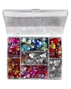 Akryylitimantit, pyöreät, tähdet, sydämet, halk. 6+7+9+10+11+12+14+16 mm, sininen, pinkki, hopea, 300 kpl/ 1 pkk