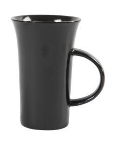 Kork. 15 cm, halk. 9,5 cm, musta, 6 kpl/ 1 ltk