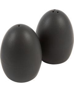 Suola ja pippuri- setti, Kork. 7 cm, matt, musta, 6 set/ 1 ltk