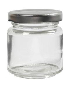 Lasipurkki, Kork. 6,5 cm, halk. 5,7 cm, 100 ml, kuulto, 12 kpl/ 1 ltk