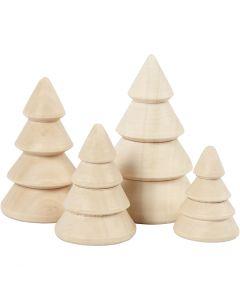Joulukuuset, Kork. 3,3+4,3+5,3+6,3 cm, halk. 2,3+3+3,2+4 cm, 4 kpl/ 1 pkk