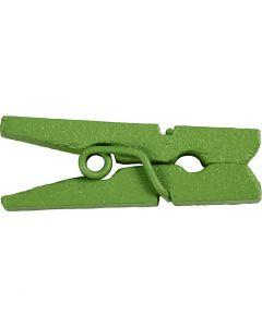 Minipyykkipojat, Pit. 25 mm, Lev: 3 mm, vihreä, 36 kpl/ 1 pkk