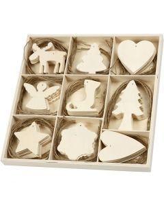Puukoristeet, joulu, koko 7-8 cm, 72 kpl/ 1 pkk
