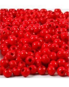Puuhelmet, halk. 5 mm, aukon koko 1,5 mm, punainen, 6 g/ 1 pkk