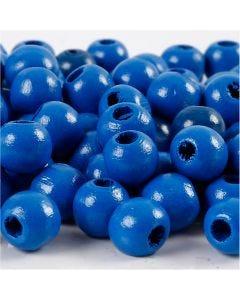 Puuhelmet, halk. 12 mm, aukon koko 3 mm, sininen, 22 g/ 1 pkk, 40 kpl